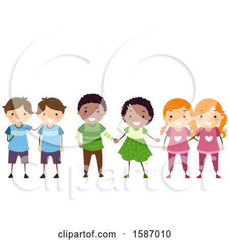 Clipart of Groups of Identical and Fraternal Children - Royalty Free Vector Illustration by BNP Design Studio