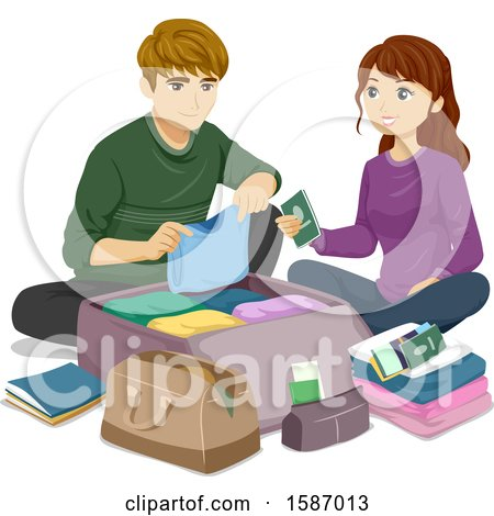 Clipart of a Teen Couple Packing Luggage for a Trip - Royalty Free Vector Illustration by BNP Design Studio