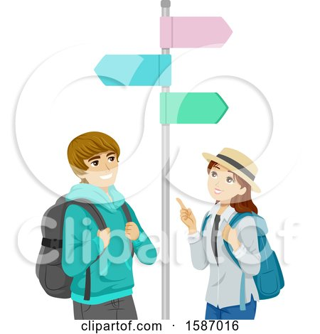 Clipart of a Teen Couple Looking at Street Signs While Traveling - Royalty Free Vector Illustration by BNP Design Studio