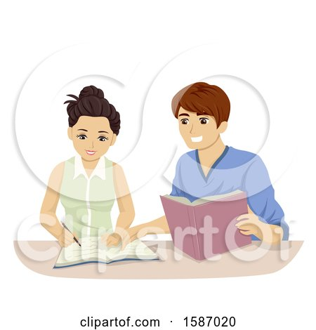 Clipart of a Teen Couple Studying - Royalty Free Vector Illustration by BNP Design Studio