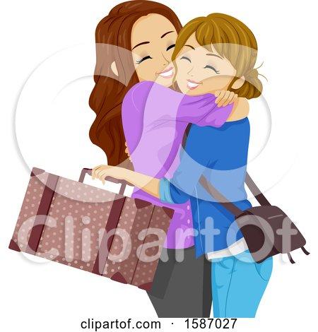 Clipart of Teen Girls Hugging - Royalty Free Vector Illustration by BNP Design Studio