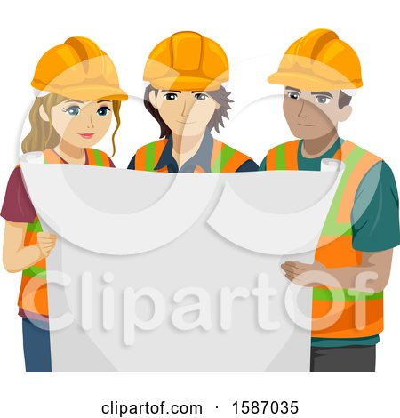 Clipart of a Group of Engineer Teens Holding a Blueprint - Royalty Free Vector Illustration by BNP Design Studio
