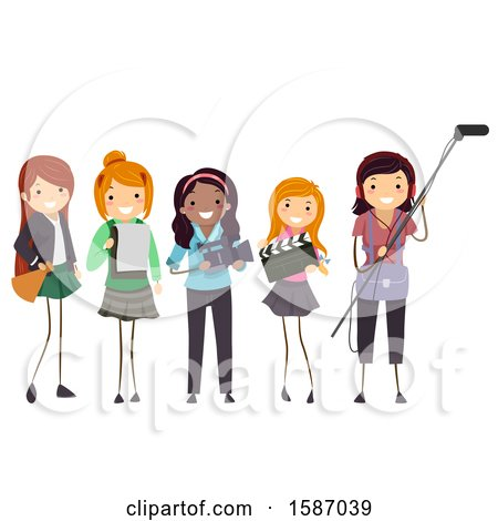 Clipart of a Group of Teens Making a Film - Royalty Free Vector Illustration by BNP Design Studio