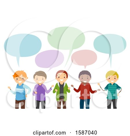 Clipart of a Group of Male Teens Talking - Royalty Free Vector Illustration by BNP Design Studio