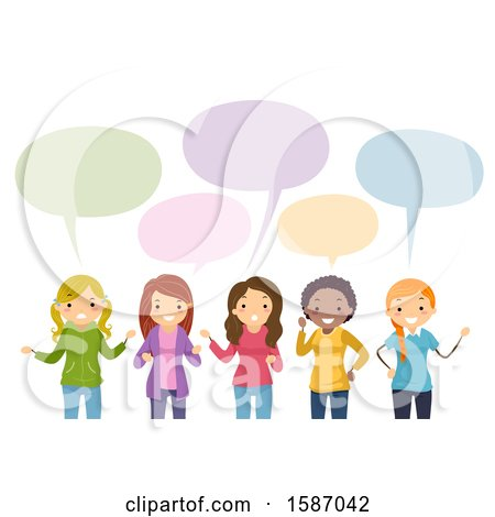 Clipart of a Group of Female Teens Talking - Royalty Free Vector Illustration by BNP Design Studio