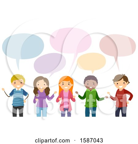 Clipart of a Group of Teens Talking - Royalty Free Vector Illustration by BNP Design Studio