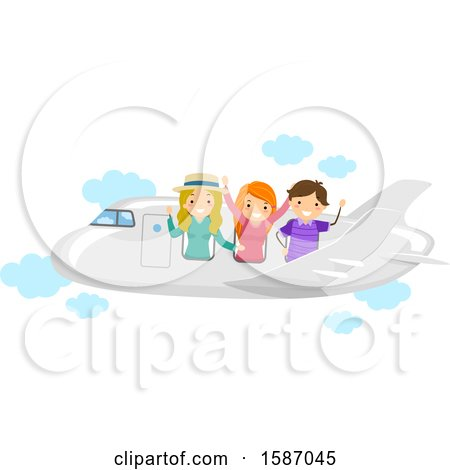 Clipart of a Group of Teens on an Airplane - Royalty Free Vector Illustration by BNP Design Studio