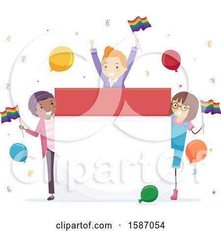 Clipart of a Group of Teens Celebrating Pride Around a Calendar - Royalty Free Vector Illustration by BNP Design Studio