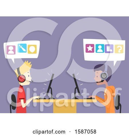 Clipart of Teen Guys Playing Video Games - Royalty Free Vector Illustration by BNP Design Studio