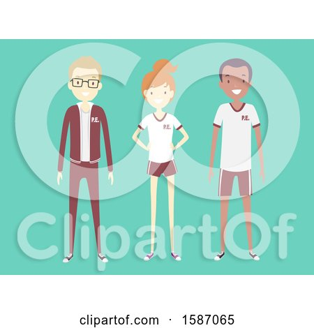 Clipart of a group of teens in pe uniforms royalty free for Uniform spa vector