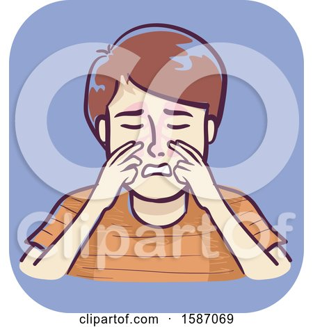 Clipart of a Boy Massaging the Side of the Nose near the Bridge to Alleviate Pressure from Sinus Infection - Royalty Free Vector Illustration by BNP Design Studio