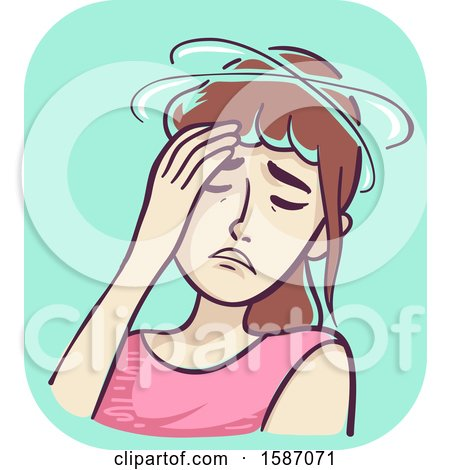 Clipart of a Sick and Dizzy Woman - Royalty Free Vector Illustration by BNP Design Studio