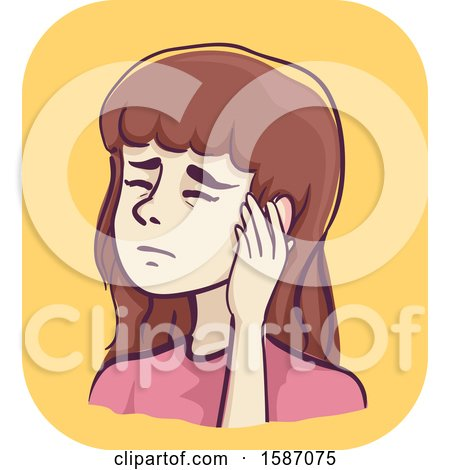Clipart of a Woman Holding a Painful Ear - Royalty Free Vector Illustration by BNP Design Studio