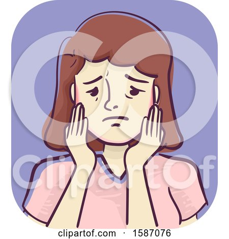 Clipart of a Woman with a Sore Jaw - Royalty Free Vector Illustration by BNP Design Studio