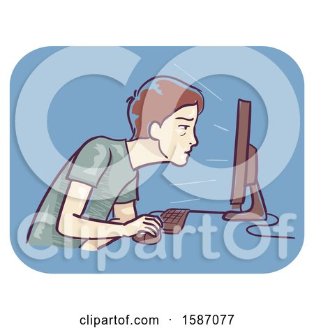 Clipart of a Man Straining to Read on a Computer - Royalty Free Vector Illustration by BNP Design Studio