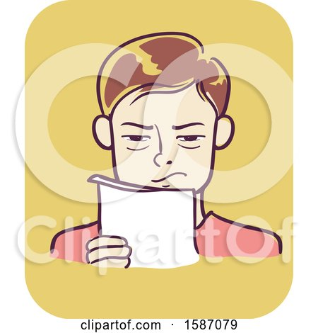Clipart of a Man Squinting His Eyes While Reading Text on Paper - Royalty Free Vector Illustration by BNP Design Studio