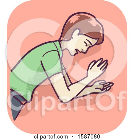 Clipart of a Man Lying down After Fainting and Losing Consciousness - Royalty Free Vector Illustration by BNP Design Studio