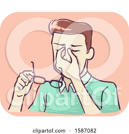 Clipart of a Man Massaging the Bridge of His Nose and Holding Eyeglasses Due to Eye Strain - Royalty Free Vector Illustration by BNP Design Studio