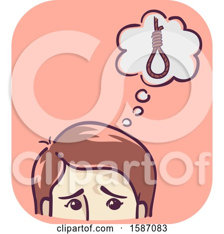 Clipart of a Man or a Woman Thinking About Suicide - Royalty Free Vector Illustration by BNP Design Studio