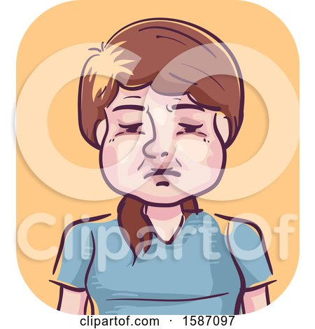 Clipart of a Woman with a Swollen Face - Royalty Free Vector Illustration by BNP Design Studio
