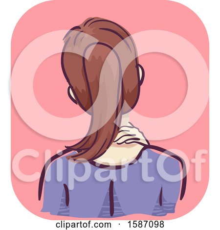 Clipart of a Woman Holding and Massaging Her Neck - Royalty Free Vector Illustration by BNP Design Studio