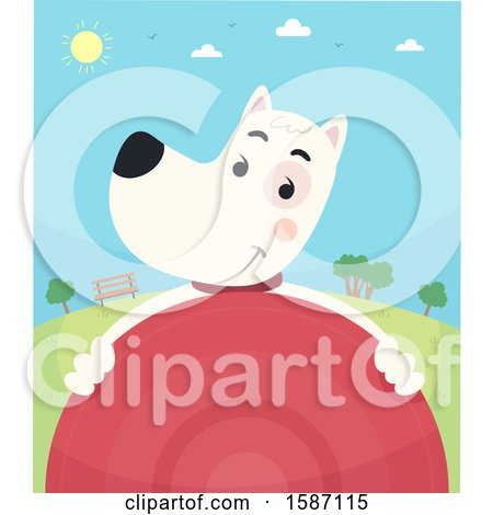 Clipart of a Dog Holding a Frisbee in a Park - Royalty Free Vector Illustration by BNP Design Studio