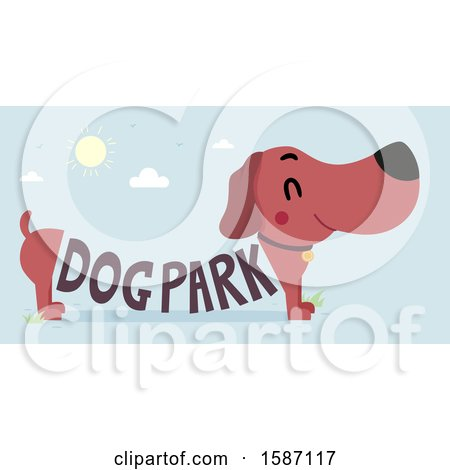 Clipart of a Daschund with Dog Park Text Forming His Body - Royalty Free Vector Illustration by BNP Design Studio
