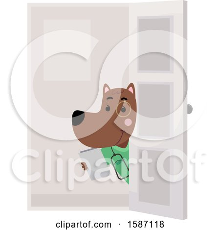 Clipart of a Veterinarian Dog Holding a Door Open - Royalty Free Vector Illustration by BNP Design Studio