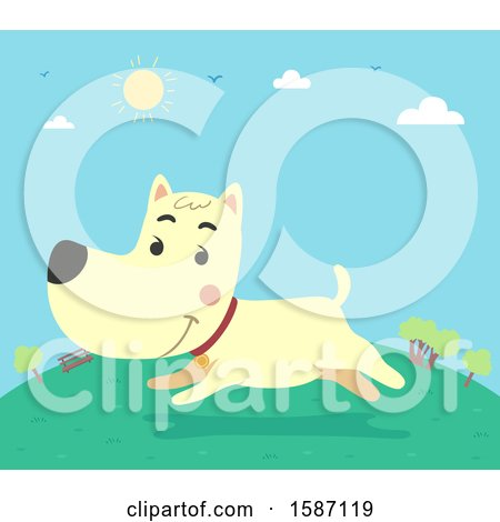 Clipart of a Dog Running in a Park - Royalty Free Vector Illustration by BNP Design Studio