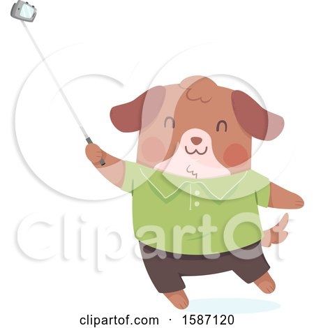 Clipart of a Dog Using a Selfie Stick - Royalty Free Vector Illustration by BNP Design Studio