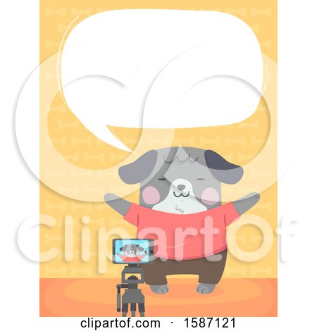 Clipart of a Dog Talking and Taking a Picture with a Camera on a Tripod - Royalty Free Vector Illustration by BNP Design Studio