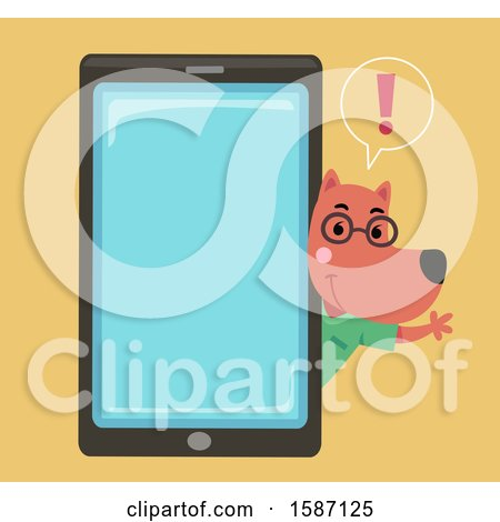 Clipart of a Veterinarian Dog Talking and Waving Around a Giant Smart Phone - Royalty Free Vector Illustration by BNP Design Studio