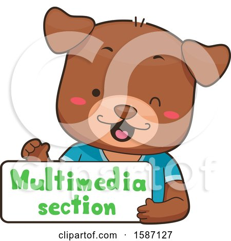 Clipart of a Dog Holding a Multimedia Section Sign - Royalty Free Vector Illustration by BNP Design Studio