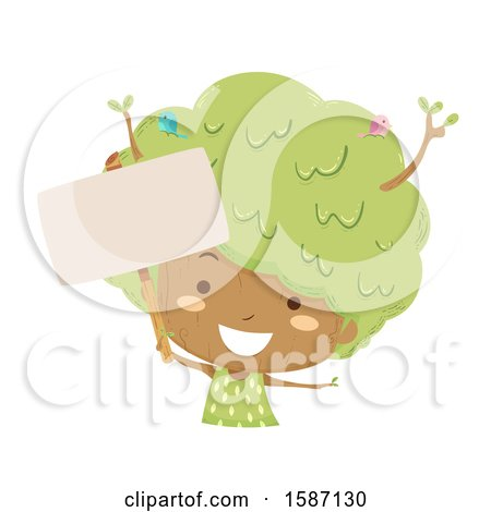 Clipart of a Girl Tree Holding a Blank Sign - Royalty Free Vector Illustration by BNP Design Studio