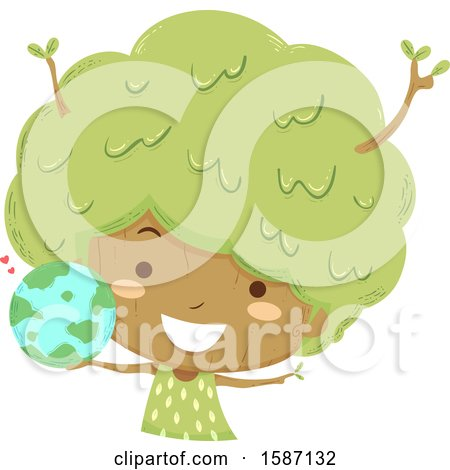 Clipart of a Girl Tree Holding a Globe - Royalty Free Vector Illustration by BNP Design Studio