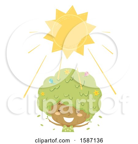 Clipart of a Girl Tree Enjoying the Sunshine - Royalty Free Vector Illustration by BNP Design Studio