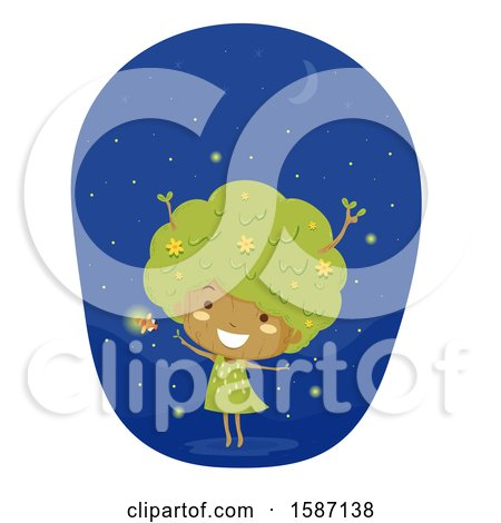 Girl Tree with Fire Flies Posters, Art Prints