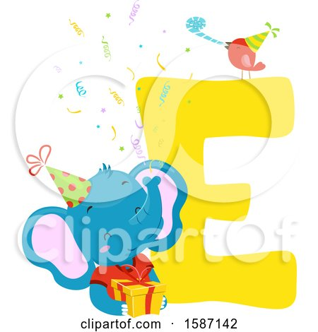 Clipart of a Birthday Animal Alphabet Letter E with an Elephant - Royalty Free Vector Illustration by BNP Design Studio