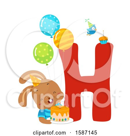 Clipart of a Birthday Animal Alphabet Letter H with a Hare - Royalty Free Vector Illustration by BNP Design Studio