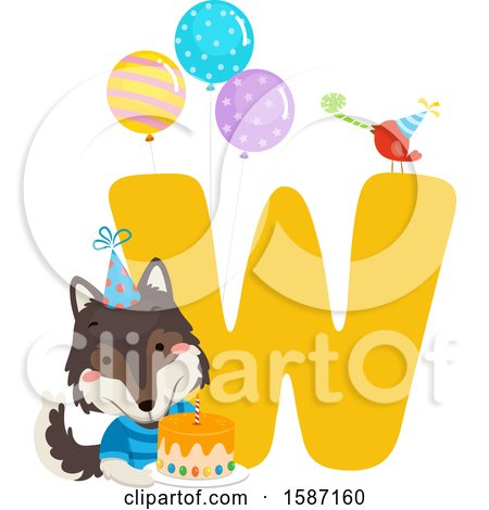Clipart of a Birthday Animal Alphabet Letter W with a Wolf - Royalty Free Vector Illustration by BNP Design Studio