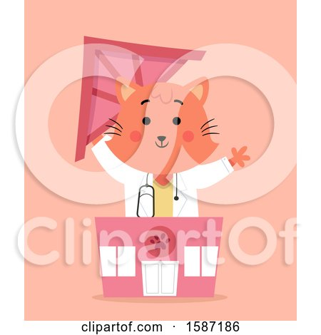 Clipart of a Ginger Veterinarian Cat Holding the Roof of a Clinic - Royalty Free Vector Illustration by BNP Design Studio