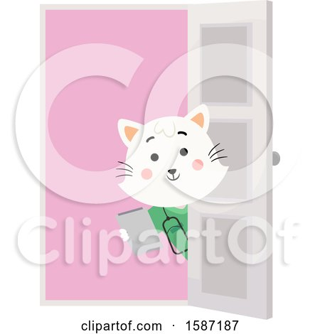 Clipart of a White Veterinarian Cat Holding a Clipboard Around a Door - Royalty Free Vector Illustration by BNP Design Studio