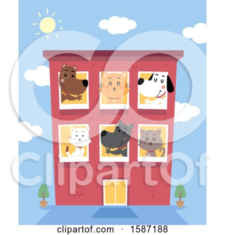 Clipart of a Busy Pet Boarding Hotel - Royalty Free Vector Illustration by BNP Design Studio