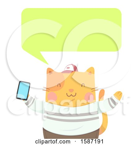 Clipart of a Ginger Cat Holding a Smart Phone and Talking - Royalty Free Vector Illustration by BNP Design Studio