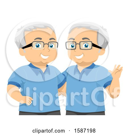 Clipart of Matching Senior Twin Men - Royalty Free Vector Illustration by BNP Design Studio