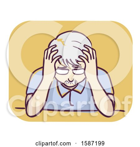 Clipart of a Depressed Senior Man Holding His Head - Royalty Free Vector Illustration by BNP Design Studio