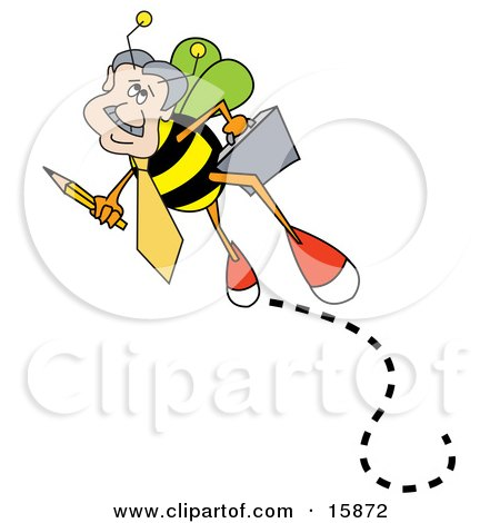 Busy Worker Bee Carrying A Pencil And A Briefcase On His Way To Work Posters, Art Prints