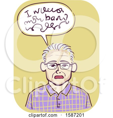 Clipart of a Senior Man Having Difficulty Speaking - Royalty Free Vector Illustration by BNP Design Studio