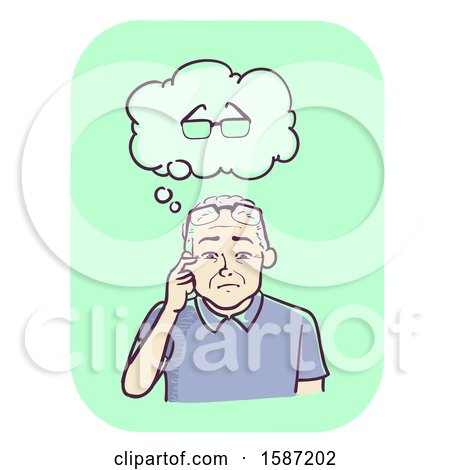 Clipart of a Senior Man Thinking About the Eyeglasses He Lost but Is Currently Wearing - Royalty Free Vector Illustration by BNP Design Studio