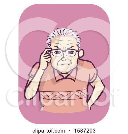 Clipart of a Senior Man Holding His Eyeglasses and Squinting - Royalty Free Vector Illustration by BNP Design Studio